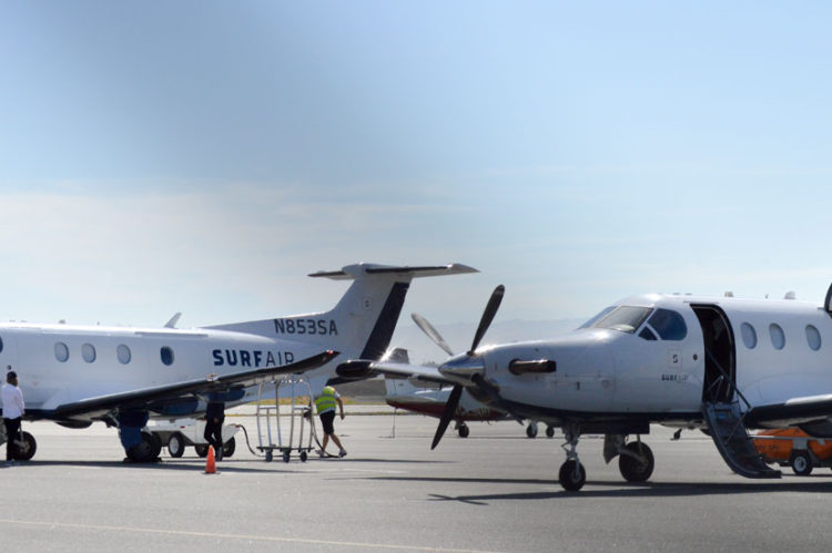 Two Surf Air planes at KSQL tarmac
